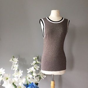 MOTH by ANTHROPOLOGIE silver knit tank top